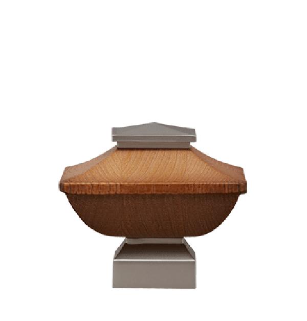 "Pecan/Satin Nickel Craftsman Wood Finial for 1 1/8"" Curtain Rod"