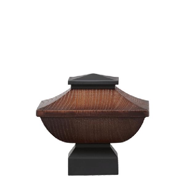 "Walnut/Matte Black Craftsman Wood Finial for 1 1/8"" Curtain Rod"