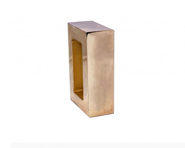 """Polished Brass Rectangle End Cap for 2"""" x 1"""" Curtain Rods"""