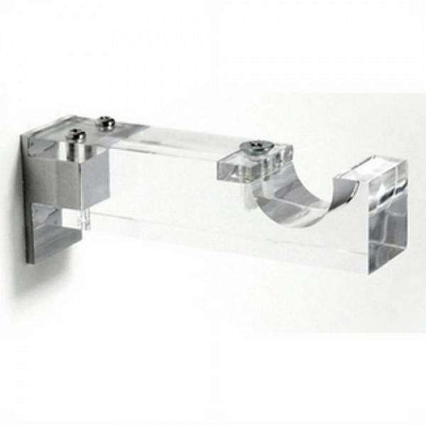 "Clear Acrylic Single Curtain Rod Bracket for 1 1/8"" Drapery Rods"