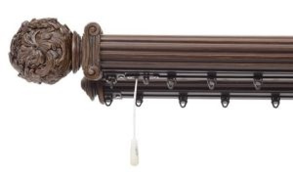 """Double Traverse Curtain Rod without Rings 2 1 4"""" Diameter"""