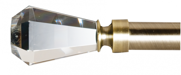 arquise Crystal Cut Finial on Brushed Brass Base~Pair