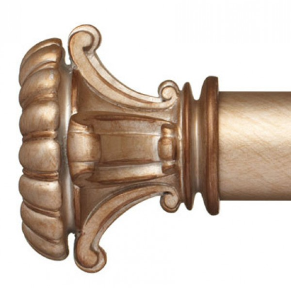 """Fiona Curtain Rod Finial for 2 1/4"""" Wood Drapery Rods~Pair"""